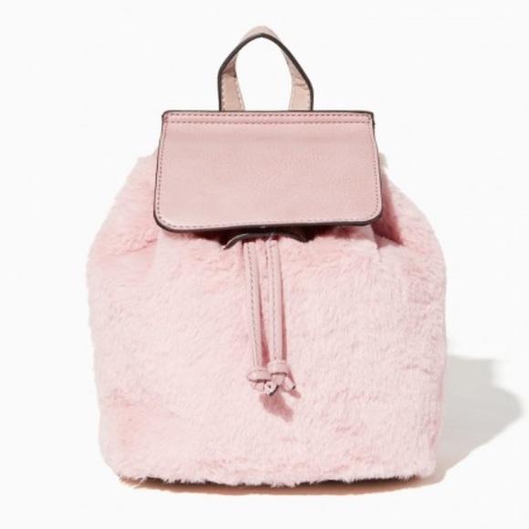 9acf6964e Charming Charlie Bags | Miri Furry Mini Pink Fur Small Backpack Bag ...
